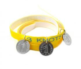 Yellow wristband - sea horse, turtle and lighthouse sterling silver 925 pendants on satin ribbon