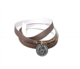 Taurus zodiac sign light brown wristband- sterling silver 925 pendant on satin ribbon