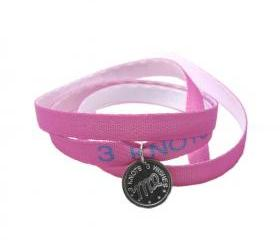 Virgo zodiac sign pink wristband- sterling silver 925 pendant on satin ribbon
