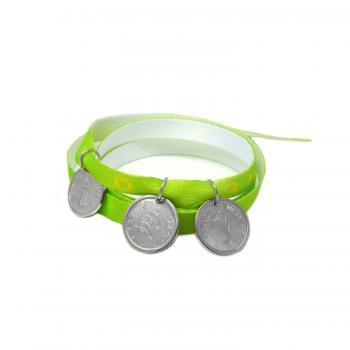 Light green bracelet - dolphins, lighthouse and sea horse sterling silver 925 pendants on satin ribbon