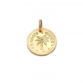  Palm bronze pendant on meaningful, colorful satin wristband
